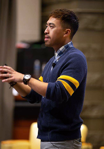 While working on his doctoral degree, Calvin Yang M'17 has done several large speaking engagements — including talks at conferences last year at St. Catherine's University and the University of Wisconsin-Eau Claire.