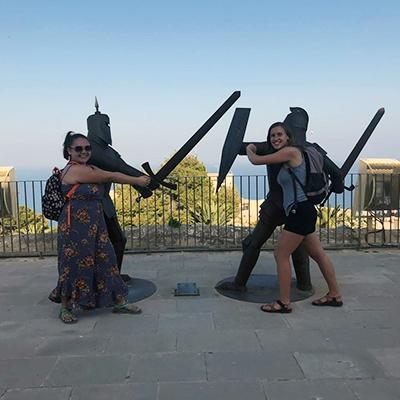 Senior Danielle Franke poses with a friend on the top of Alicante's famed Castillo de Santa Barbara.