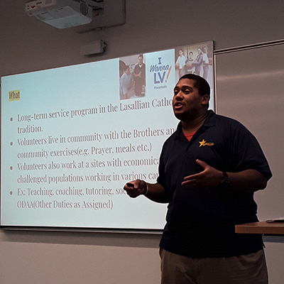 While in Minnesota last October, Aldontae Guess gave a presentation to Saint Mary's undergraduate students about the Lasallian Volunteers program. The priority consideration deadline is Saturday, February 15.