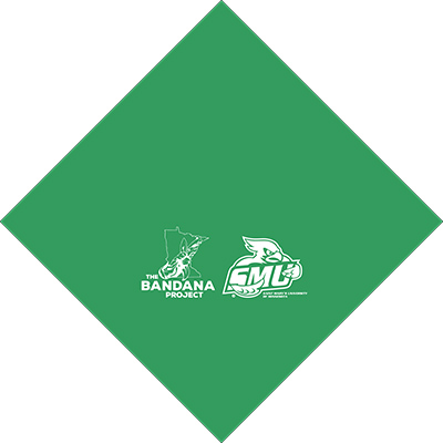 The digital depiction of what the new green bananas will look like, featuring both the Saint Mary's logo and the Green Bandana Project logo.