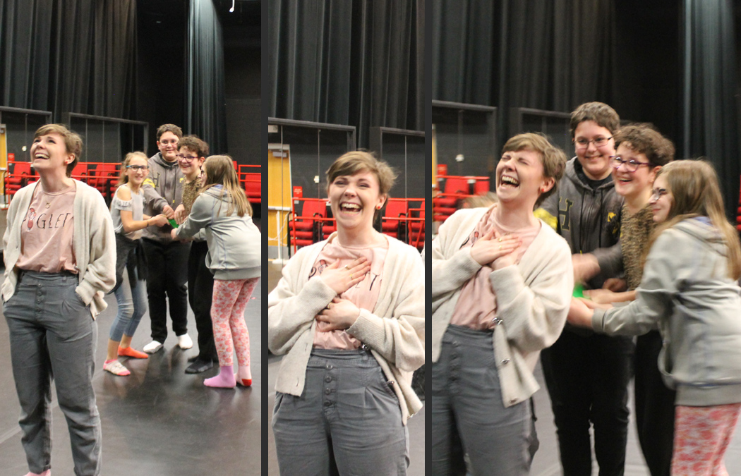 Theatre major works with grade school students on original production