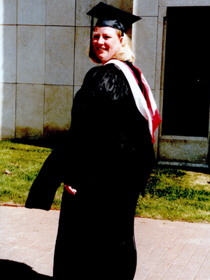 Sara Schreiner at Commencement in 1997 on the Winona Campus.