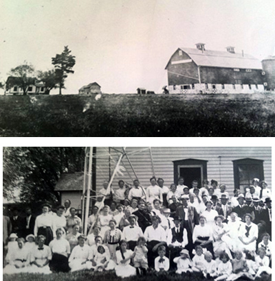 Two photos: First, a photo of Renee Thompson's family barn and house in Wisconsin from 1913. The farm was built in 1891 by her great grandparents, Peder and Christina Thompson. The second photo from the 25th wedding anniversary of Renee Thompson's great grandparents taken in 1914 at the front of the house.