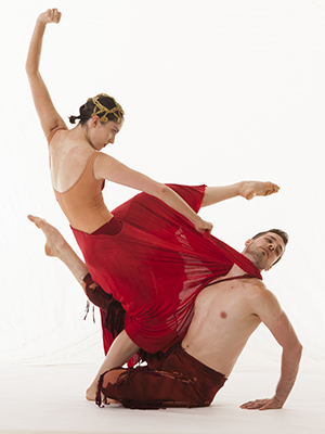 "This is a photo of Jarod Boltjes and Eve Schulte appear in a promo shoto for ""Opera Moves"" by James Sewell Ballet."