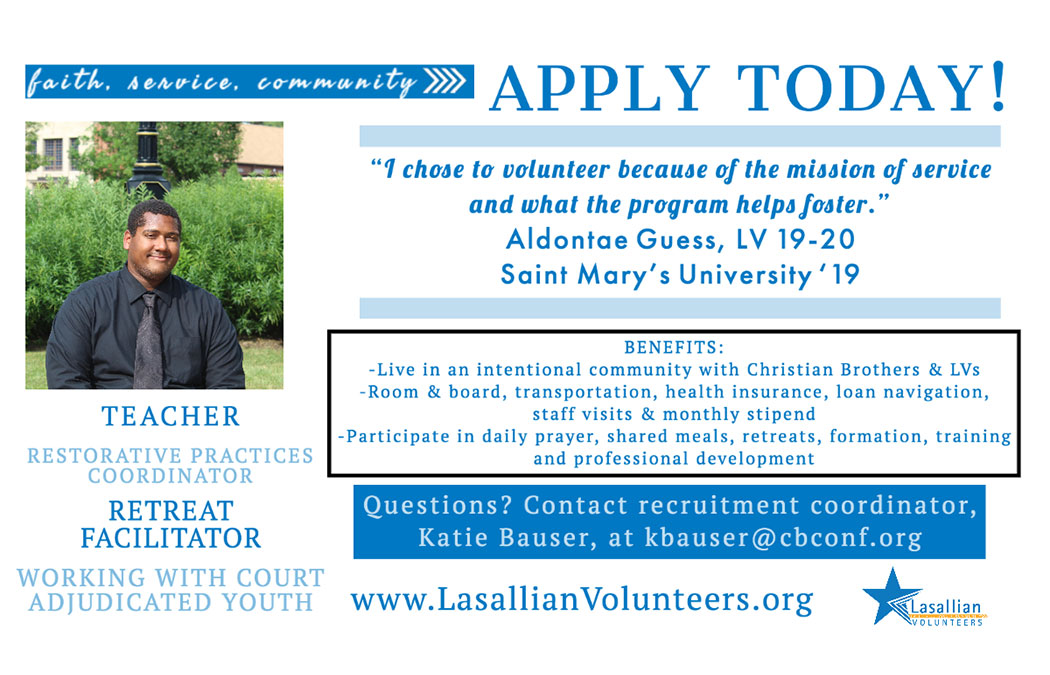 Lasallian Volunteers recruiting for next year